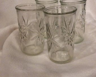 Vintage jelly juice glasses, set of 4 cups 6oz, Vintage kitchen gift, Retro Kitchen Gift, Vintage set of 4