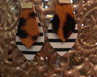 Leopard Print and Striped Leather Earrings