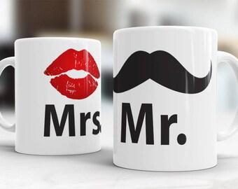 Set of handprinted ceramic HEYA mugs for couples