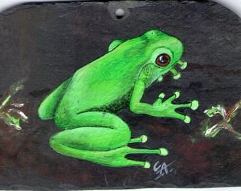 Frog painting acrylic on Slate