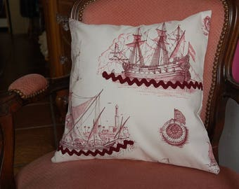 Beige and Burgundy sea Cushion cover