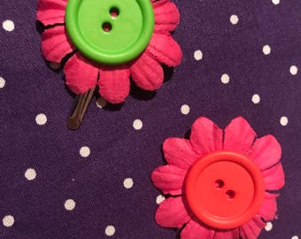Paper Flower and Button Hair Clips