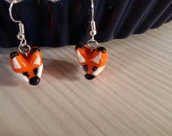 Fox in polymer clay earrings