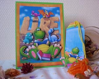 Kid 3D card: Zulius friendly dinosaur