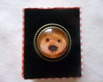 Teddy bear Adjustable ring, glass cabochon