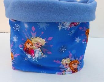 "Girl Snood winter kids ""snow Queen"" Jersey and fleece tube scarf blue"