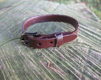 Chocolate leather watch strap