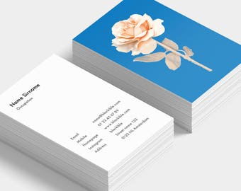 Salmon pink rose photograph business cards