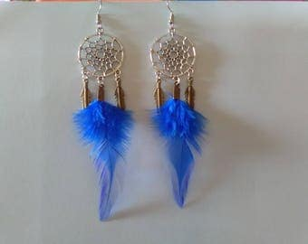 Earrings dream catcher blue Rooster feathers