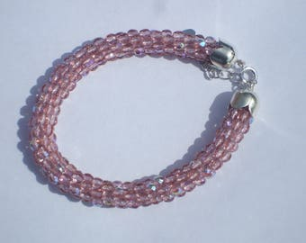 spiral bracelet with faceted glass beads