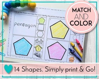 Teaching and Learning Activities. Shapes Worksheets, Colour by Shape, Digital Education Resources for Preschool, Kindergarten, Homeschool