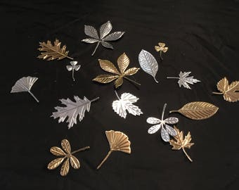 Gold and silver die cut leaves