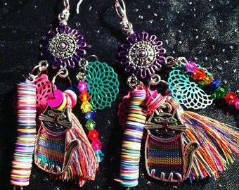 Earrings Bohemian Rainbow cat theme