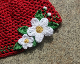 Girls Knit Hat With Flowers Embroidered Beanie Hand Knit Child Hat Crochet Kids Сap Red Cotton Child Hat Fishnet Hat White Chamomiles
