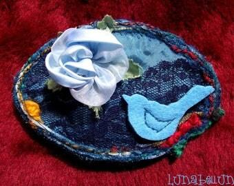 Hair clip oval fabric flowered headband, satin, lace, felt and fabric flower