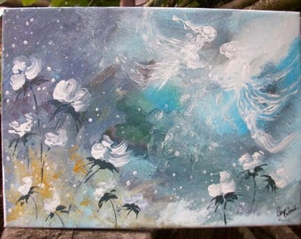 painted canvas: seems very light, this movement of blue, flowers, two fairies...