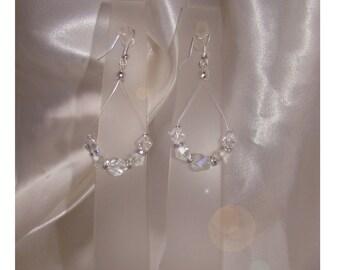Wedding earrings pearls with swarovski crystals