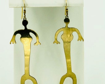 Gold Alien Earrings