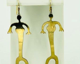 Gold Alien Earrings