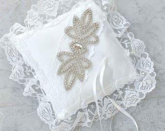 Gorgeous pillow bearer lace and rhinestones