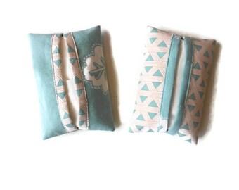Seafoam green fabric handkerchiefs cases