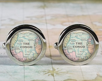 Congo cuff links, Congo map cufflinks wedding gift anniversary gift for groom gift for him groomsmen best man Father's Day gift