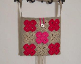 """Handbag made of linen and crochet """"Gypsy"""""""