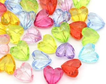 100 x beads acrylic shape hearts Mix