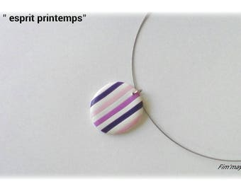 "Necklace ""spring spirit"" beautifully striped with pink, purple and white"