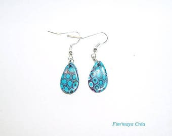 Ethnic turquoise blue and purple drop earrings