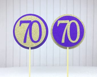 "70th Birthday Cupcake Toppers - Gold Glitter & Violet Purple ""70"" - Set of 12 - Elegant Cake Cupcake Age Topper Picks Party Decorations"