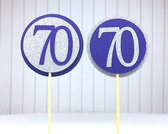 """70th Cupcake Toppers - Silver Glitter & Navy Blue """"70"""" - Set of 12 - Birthday Cake Cupcake Age Topper Picks Party Decorations"""