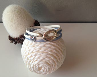 White and blue leather with passing heart bracelet