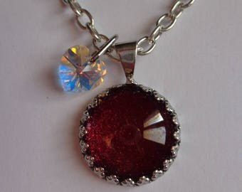 Very elegant red cabochon silver necklace