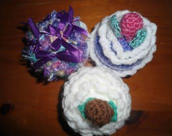 Set of three crocheted cupcakes handmade 1
