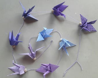 Garland origami cranes Japanese paper - shades of purple