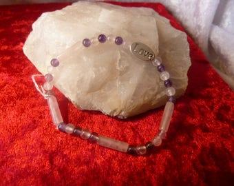 Genuine gemstones AMETHYST and QUARTZ pink