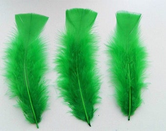 set of 8 feathers green 10-15cm
