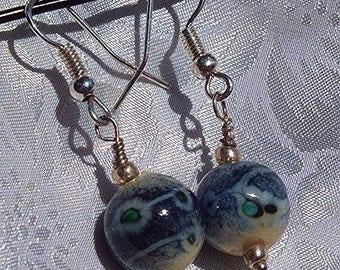 Soft gray Lampwork Glass earrings