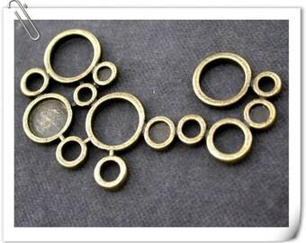 1 Pearl bronze necklace connector bubble bubble 34x57mm