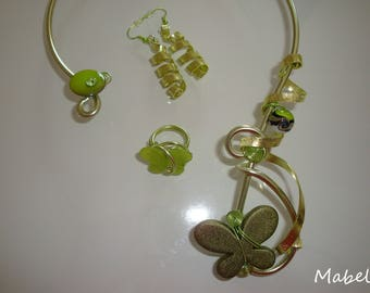Necklace green anise, Khaki tie, lime aluminum wire earrings, ring Green Butterfly, wedding