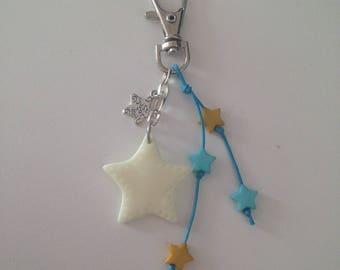 """Polymer clay """"fluorescent Star"""" keychain"""