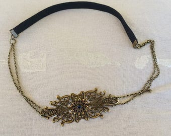 Vintage bronze and stamped flower, Black Pearl cabochon headband