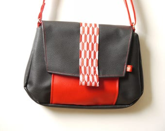 Black and Red shoulder bag faux leather