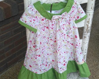 Girls green and pink dress