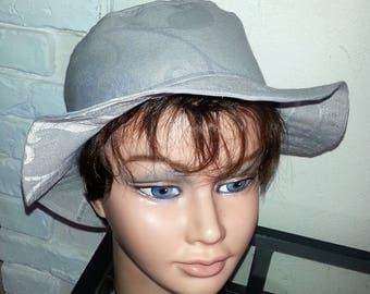 Grey coated cotton rain hat