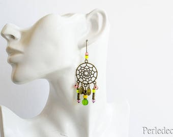Earrings long 'suzy' colored glass beads