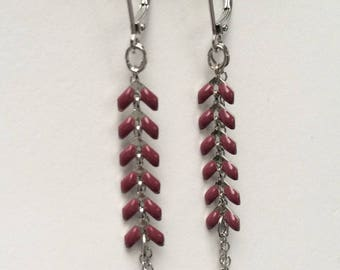 Earrings, ear chain enameled, silver and Red-Burgundy-plum