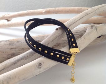 Black studded suede Trio bracelet