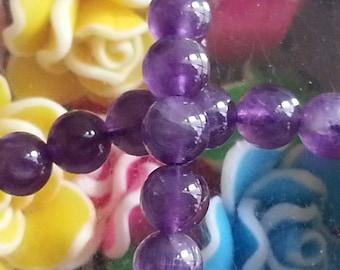 10 Amethyst beads in 6 mm in diameter, hole 1 mm
